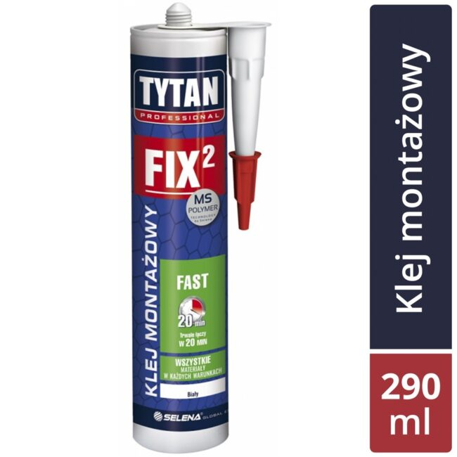 Klej montażowy FIX 2 FAST TYTAN PROFESSIONAL biały 290ml SELENA