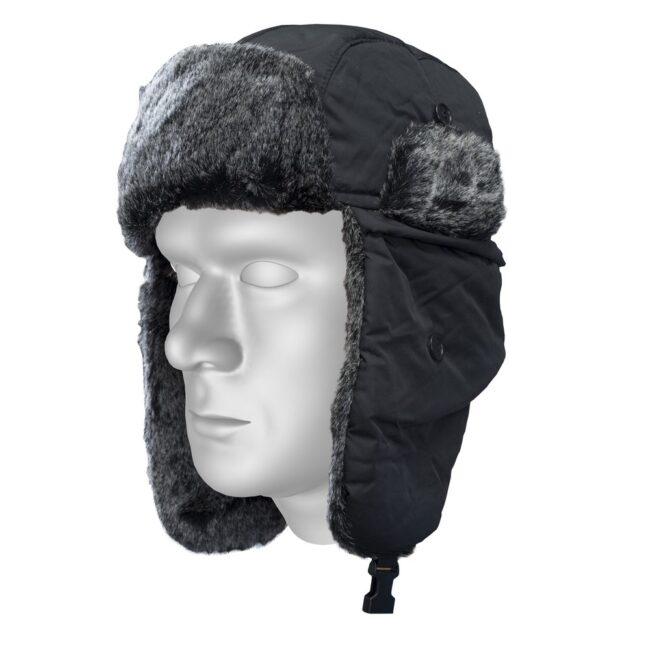 Czapka zimowa uszatka czarna STALCO S-42049