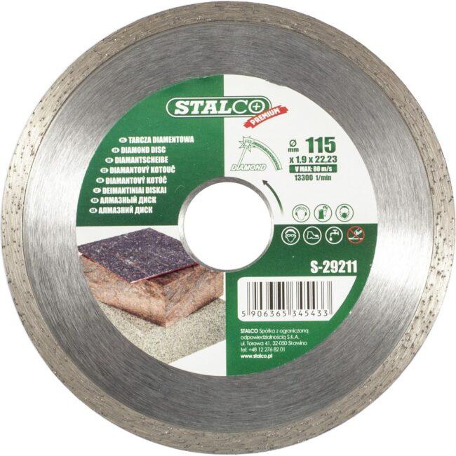 Tarcza diamentowa pełna 115mm Premium S-29211 STALCO